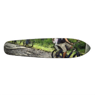 Family cycling on a dirt track 20 cm skateboard deck