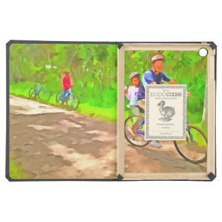 Family cycling on a dirt track iPad air cover
