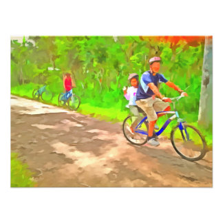 Family cycling on a dirt track photographic print