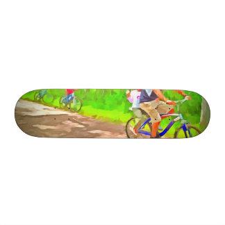 Family cycling on a dirt track custom skate board