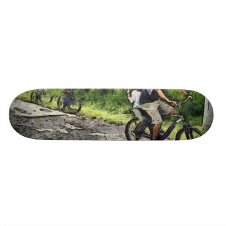 Family cycling on a dirt track 20.6 cm skateboard deck