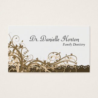 Family Dentist Business Card - Gold Elegant Floral