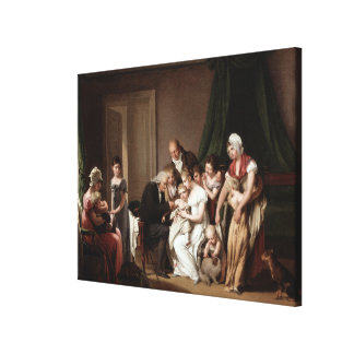 Family Doctor Vaccinating Child Old Oil Painting Stretched Canvas Prints