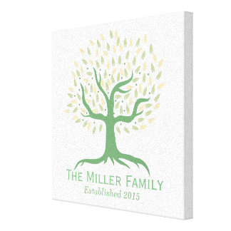 Family Established Simple Tree Family Name Canvas Prints