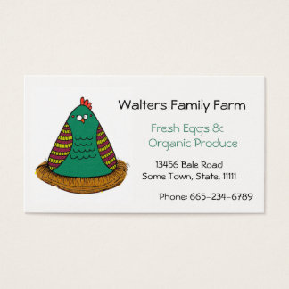 Family Farm Business Card Chicken Art