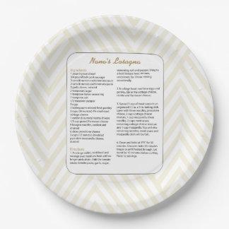 Family Favorite Recipe Chevron - Lasagna Paper Plate