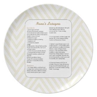 Family Favorite Recipe Chevron - Lasagna Plate