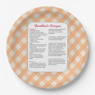 Family Favorite Recipe Retro - Lasagna Paper Plate
