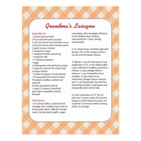 Family Favourite Recipe Retro - Lasagne Postcard