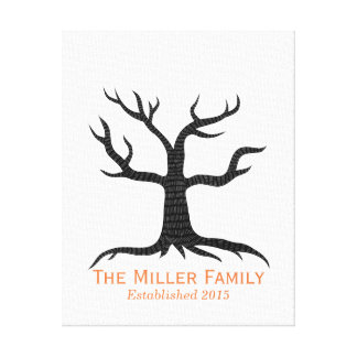 Family Fingerprint Tree Family Established Canvas Prints