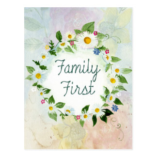 Family First Circle of Daisies Postcard