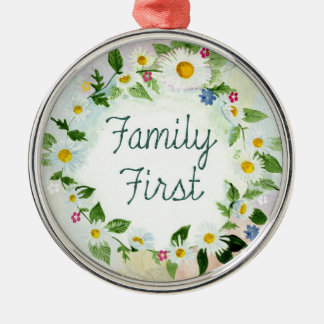 Family First Floral Daisy Chain Colorful Christmas Ornament