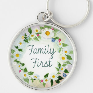 Family First Inspirational Quote Silver-Colored Round Key Ring