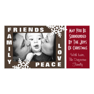 Family Friends Peace & Love Christmas Personalized Photo Card
