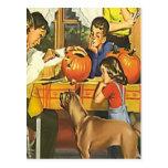 Family fun at Halloween Postcard