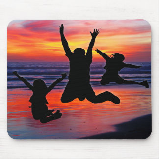 Family Fun Father s Day Beach Jump Mousepads