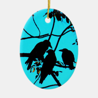 Family fun peace and joy crows christmas ornament