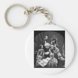Family Geography Lesson ~ 1850 Basic Round Button Key Ring