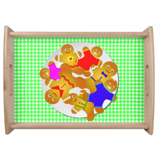 Family Gingerbread Men, Green Gingham Background Serving Tray