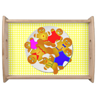 Family Gingerbread Men, Yellow Gingham Background Serving Tray
