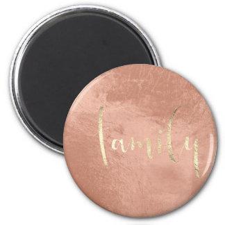 Family Golden Script Home Planning Rose Gold 6 Cm Round Magnet