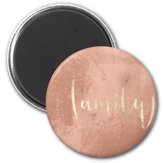 Family Golden Script Pink Blush Home Planning 6 Cm Round Magnet