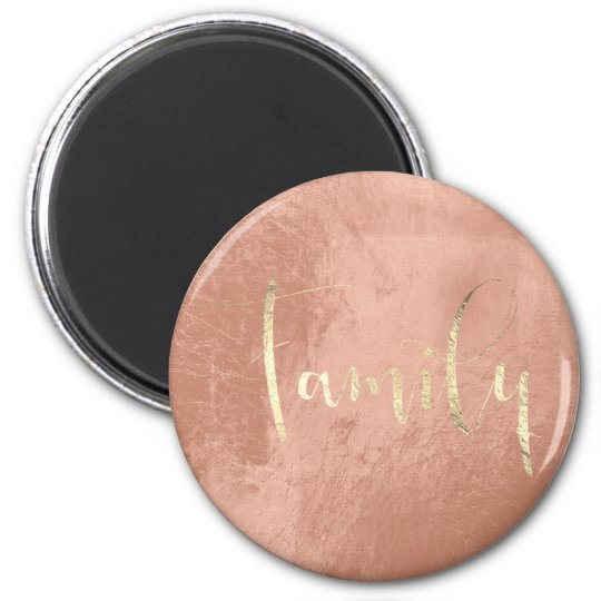 Family Golden Script Pink Blush Home Planning Magnet