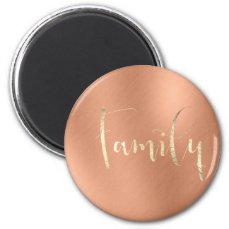 Family Golden Script Pink Copper Home Planning 6 Cm Round Magnet