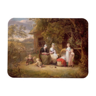 Family Group before a Thatched Cottage oil on can Vinyl Magnet