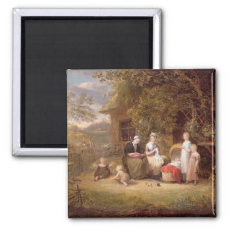Family Group before a Thatched Cottage (oil on can Square Magnet