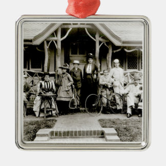 Family Group, c.1900 (b/w photo) Silver-Colored Square Decoration
