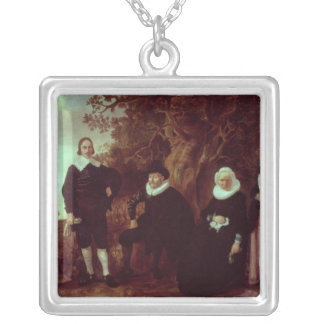 Family Group in a landscape Silver Plated Necklace
