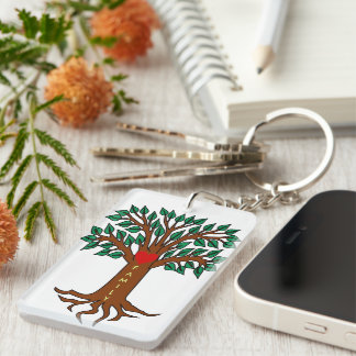 Family Grows in Different Directions Double-Sided Rectangular Acrylic Key Ring