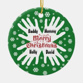 Family Hand Print Snowflake Christmas Ornament