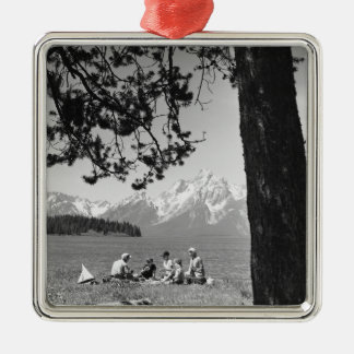 Family having picnic by lake mountains Silver-Colored square decoration