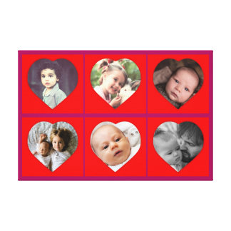Family heart shaped pictures canvas print