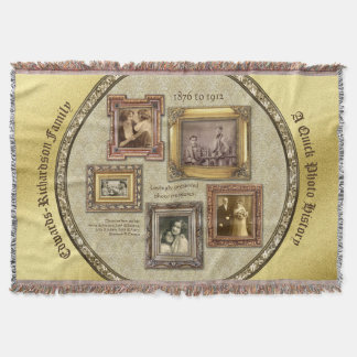 Family History Antique Photo Frames Gold Collage Throw Blanket