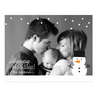 Family Holiday Greeting with Cute Snowman and Snow Postcard