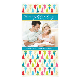 FAMILY HOLIDAY PHOTOCARD :: patternedxmastree 1P Picture Card
