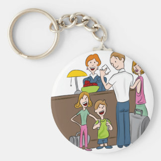 Family Hotel Check In Cartoon Basic Round Button Key Ring