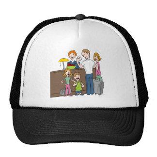 Family Hotel Check In Cartoon Cap
