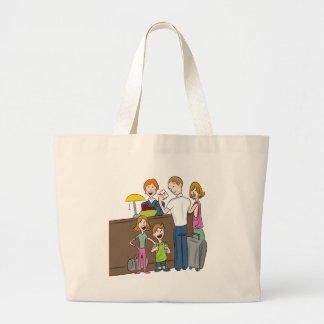 Family Hotel Check In Cartoon Large Tote Bag