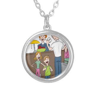 Family Hotel Check In Cartoon Silver Plated Necklace