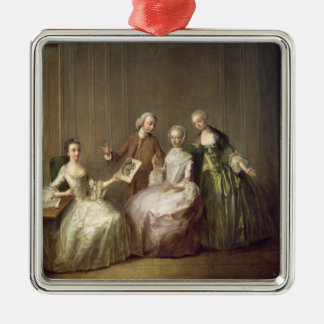 Family in an Interior with Squirrels Christmas Ornament