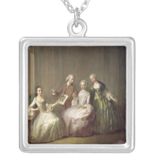 Family in an Interior with Squirrels Silver Plated Necklace