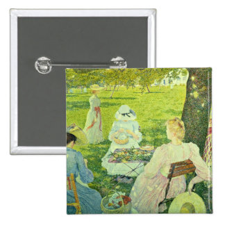Family in the Orchard, 1890 15 Cm Square Badge