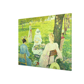 Family in the Orchard, 1890 Canvas Print