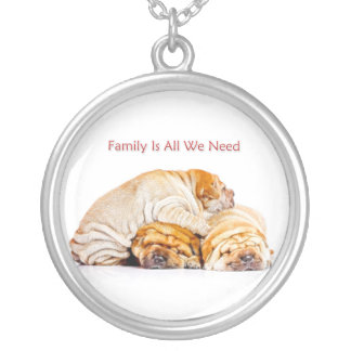 Family Is All We Need Round Pendant Necklace
