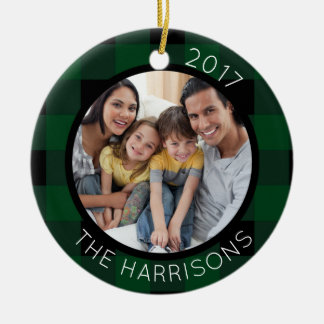 FAMILY IS LOVE (on back) 2-Photo Green/Black Plaid Christmas Ornament