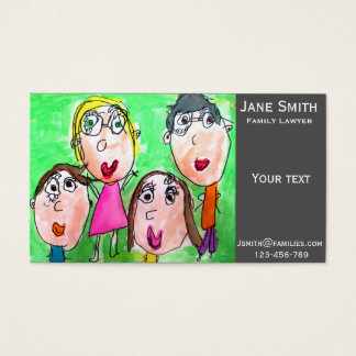 Family Lawyer family services cute kid's art Business Card